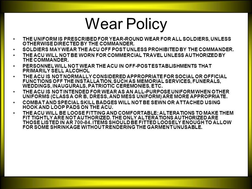 Army combat uniform acu ppt video online download 3 wear toneelgroepblik Choice Image