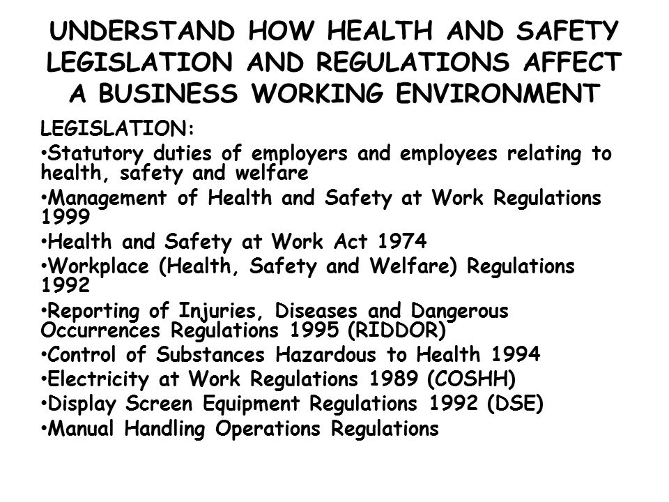 health and safety regulations at the The ohs act sets standards to protect and promote the health and safety of  workers throughout alberta it outlines your responsibilities as an employer, as  well.