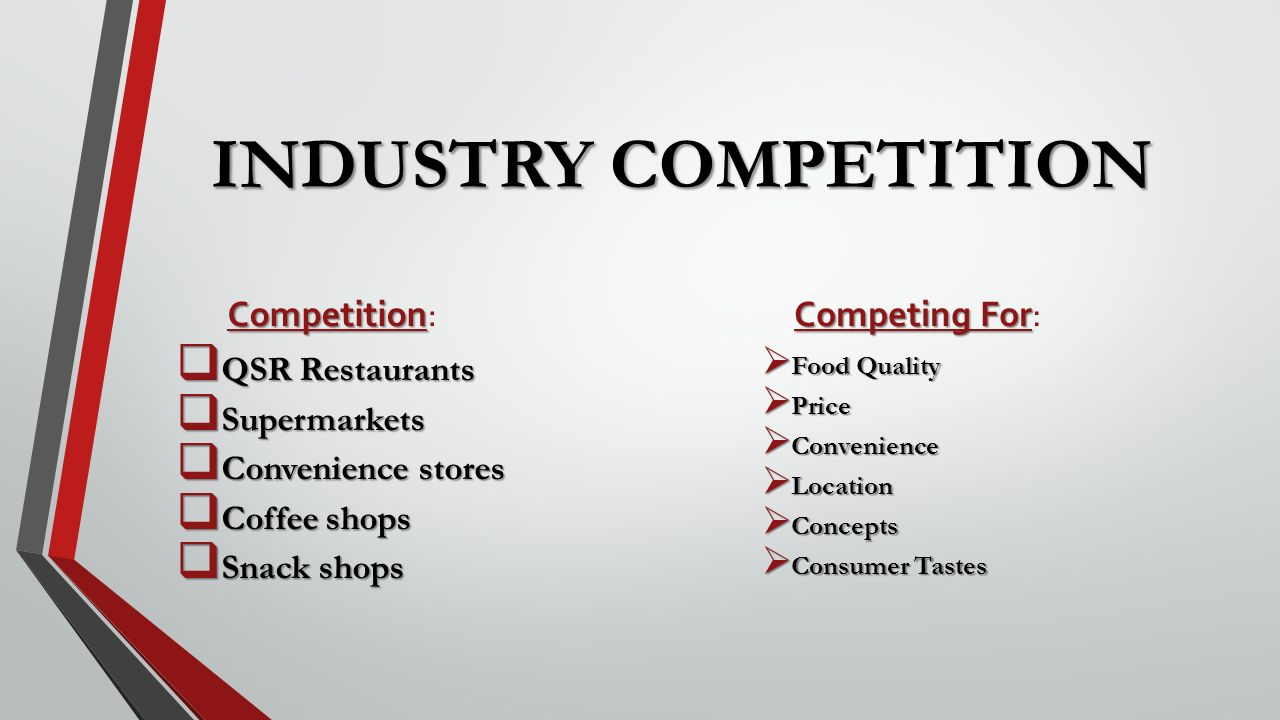 competitors in the restaurant industry Competition is fierce for restaurant real estate all across the country  darren tristano, president of the restaurant industry research firm technomic, argues that cultural changes are also in.