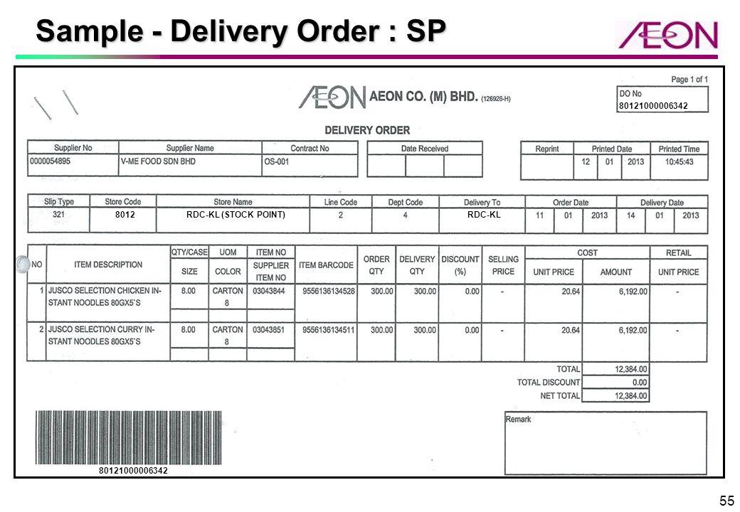 Sample   Delivery Order : SP  Delivery Order Sample