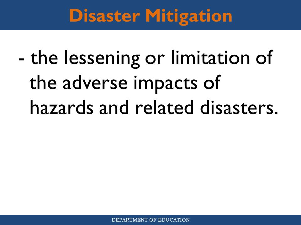 mitigating the impact of disasters essay Mitigate effects of some natural disasters are considerable nevertheless is important to consider documenting the scope of these natural risks in as much detail as possible.