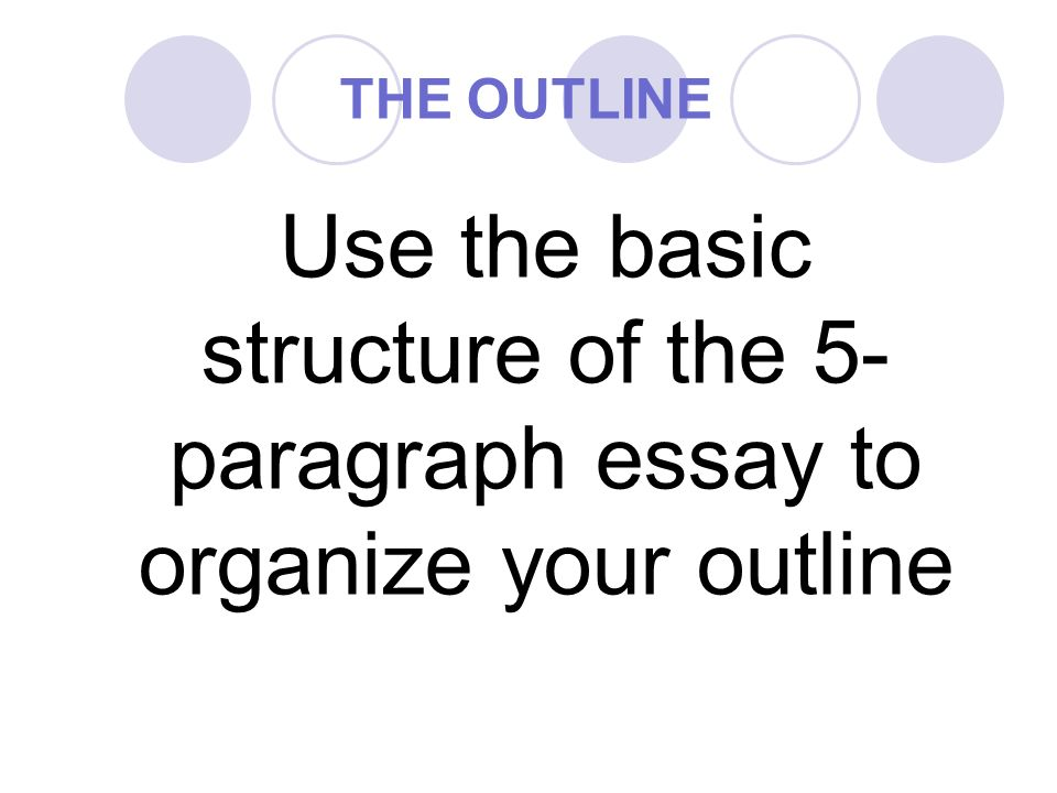basic outline of a five paragraph essay This is a basic outline for a five-paragraph essay from how to teach the five paragraph essay listed at your introduction must include the following: an opening statement this free teaching resource includes two different five paragraph essay outlines necessary information: (4-5 sentences, state title.