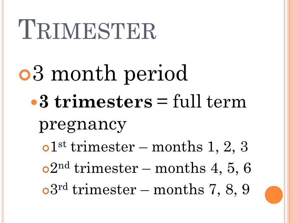 Trimester 3 month period 3 trimesters = full term pregnancy
