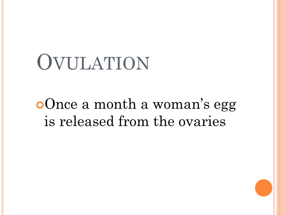 Ovulation Once a month a woman's egg is released from the ovaries