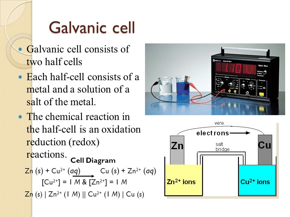 Presented by azra goher ppt video online download galvanic cell galvanic cell consists of two half cells ccuart Choice Image