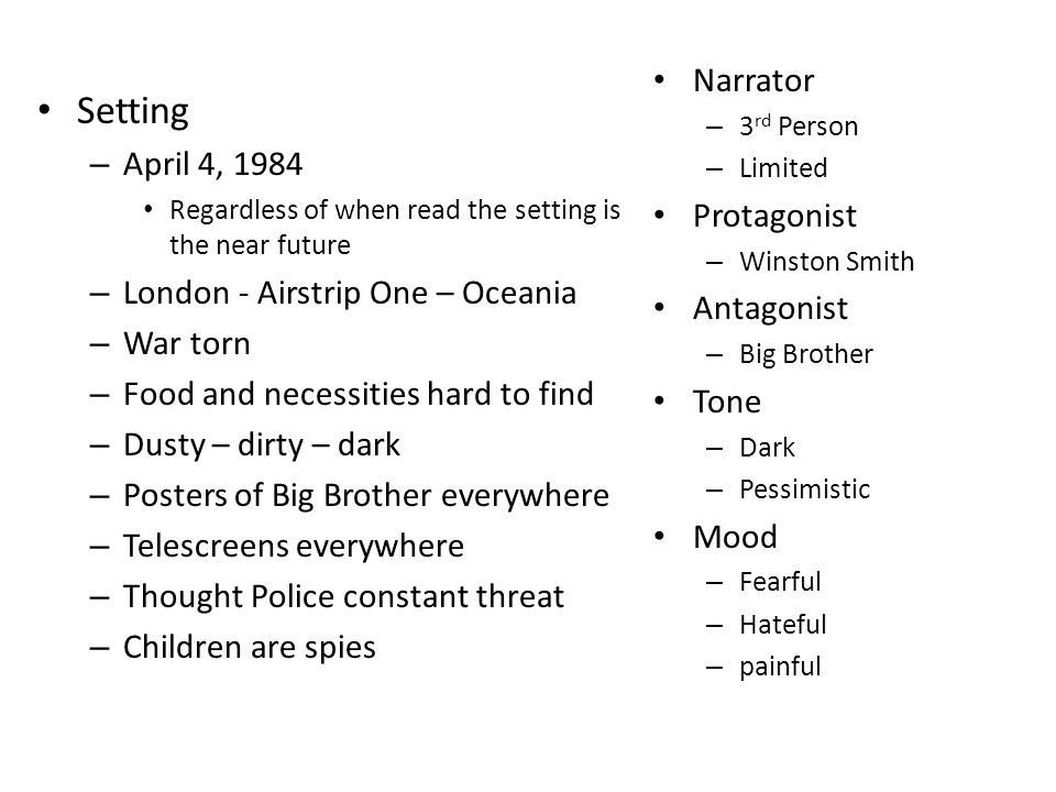 1984 setting essay George orwell 1984 critical commentary there are relatively few good essays concerning 1984 specifically, and to the book is set in 1939.