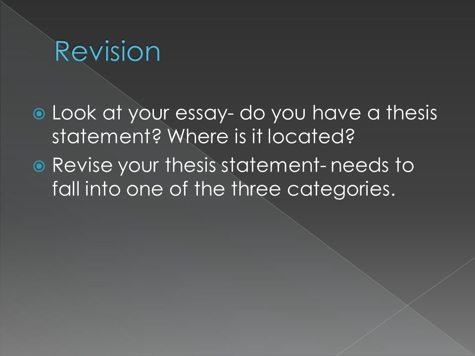Revision Look at your essay- do you have a thesis statement Where is it located