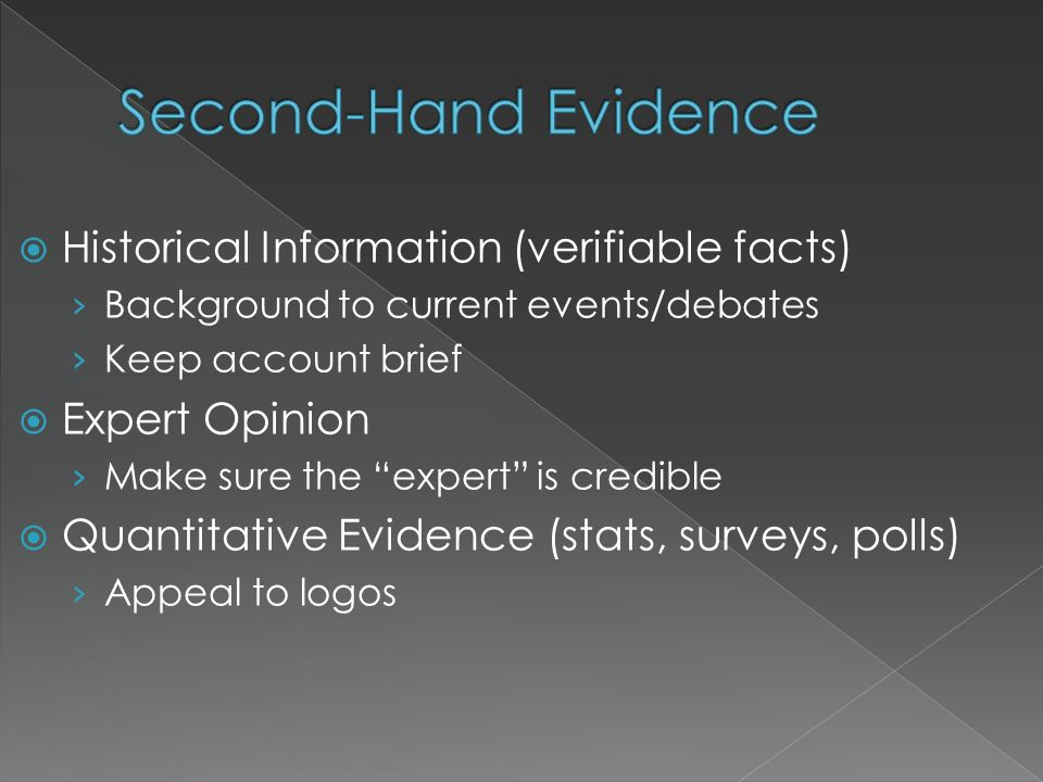 Second-Hand Evidence Historical Information (verifiable facts)