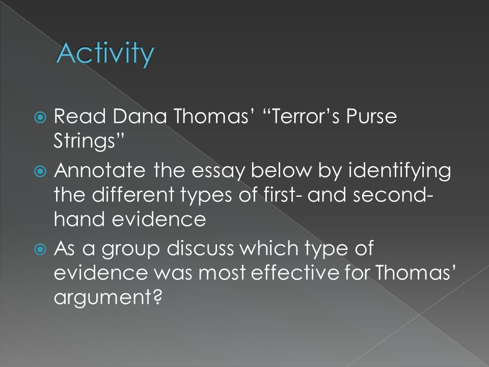 Activity Read Dana Thomas' Terror's Purse Strings
