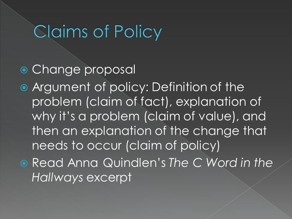 Claims of Policy Change proposal