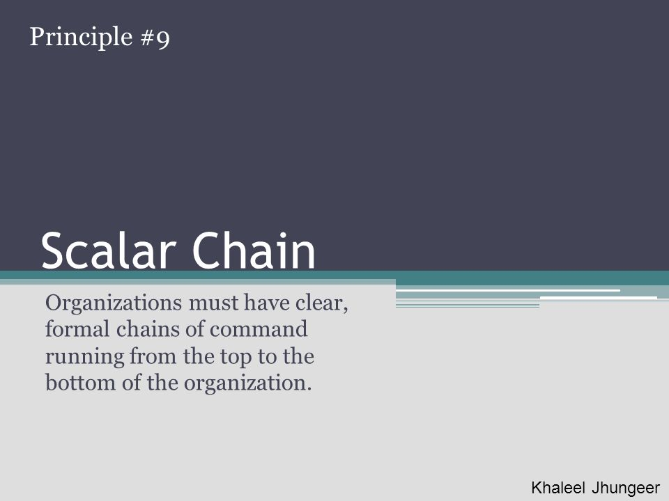 Scalar Chain Principle #9