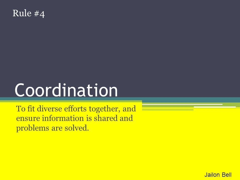 Rule #4 Coordination. To fit diverse efforts together, and ensure information is shared and problems are solved.