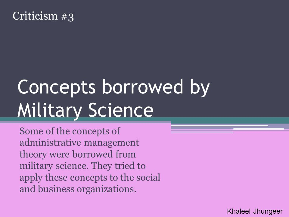 Concepts borrowed by Military Science