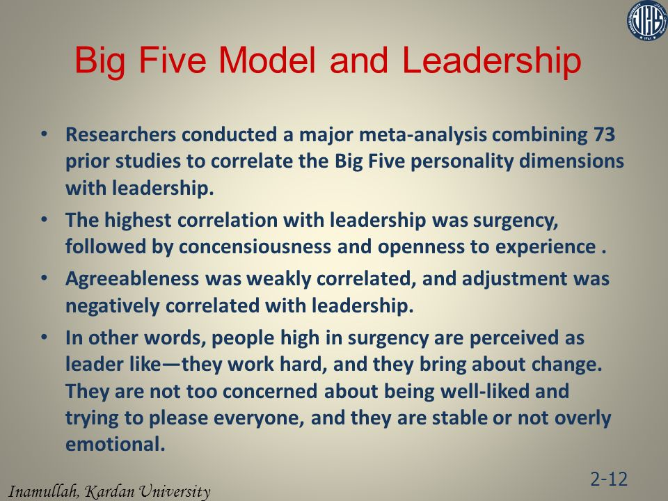 Big Five Model and Leadership
