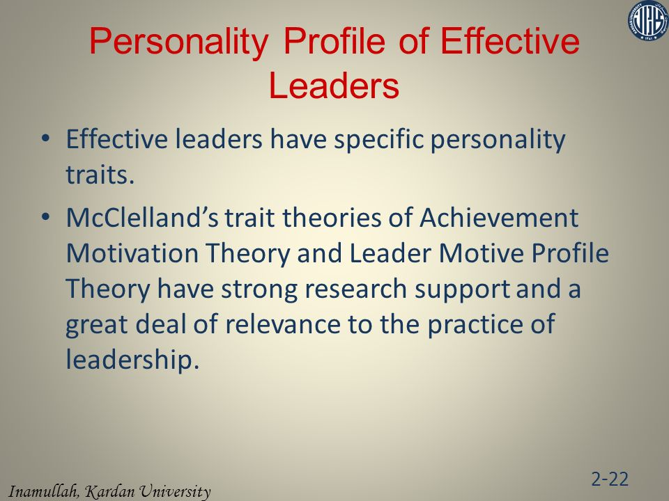 Personality Profile of Effective Leaders