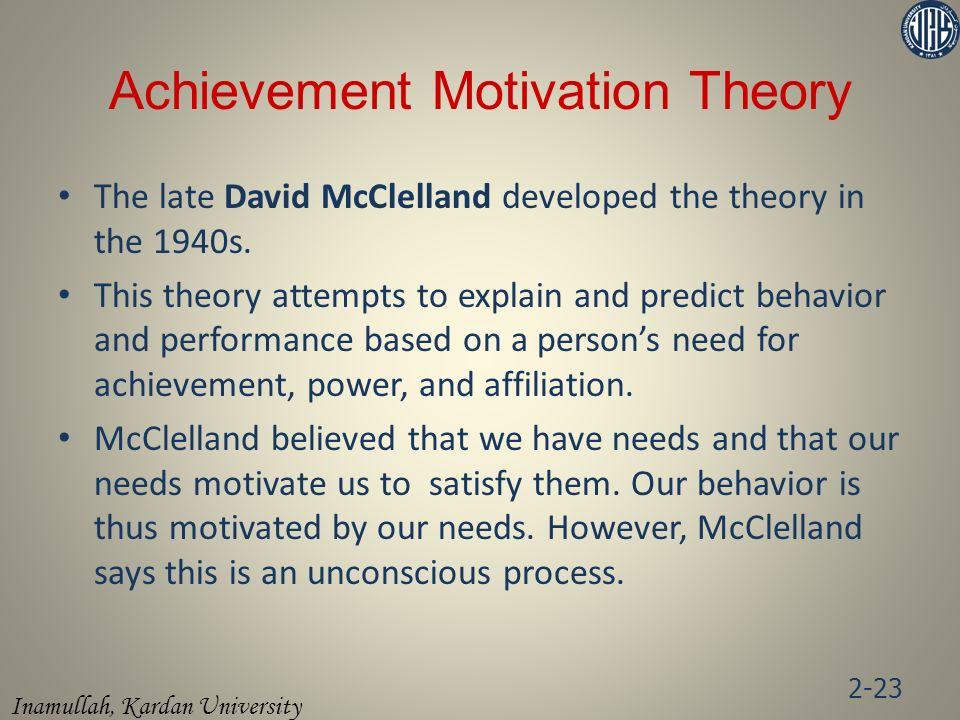 Achievement Motivation Theory