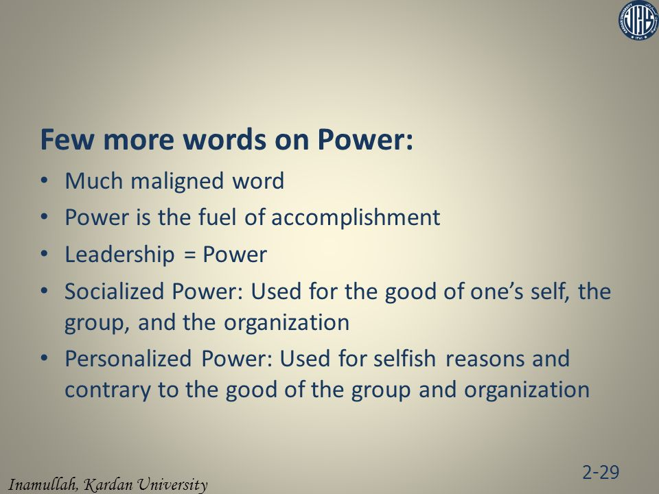 Few more words on Power: