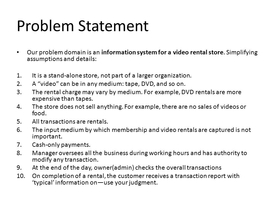 statement of the problem to restaurant system A concept statement clarifies an idea or design in words such statements are often used as part of a business plan or when proposing an idea to an investor or potential partner the entirety of.
