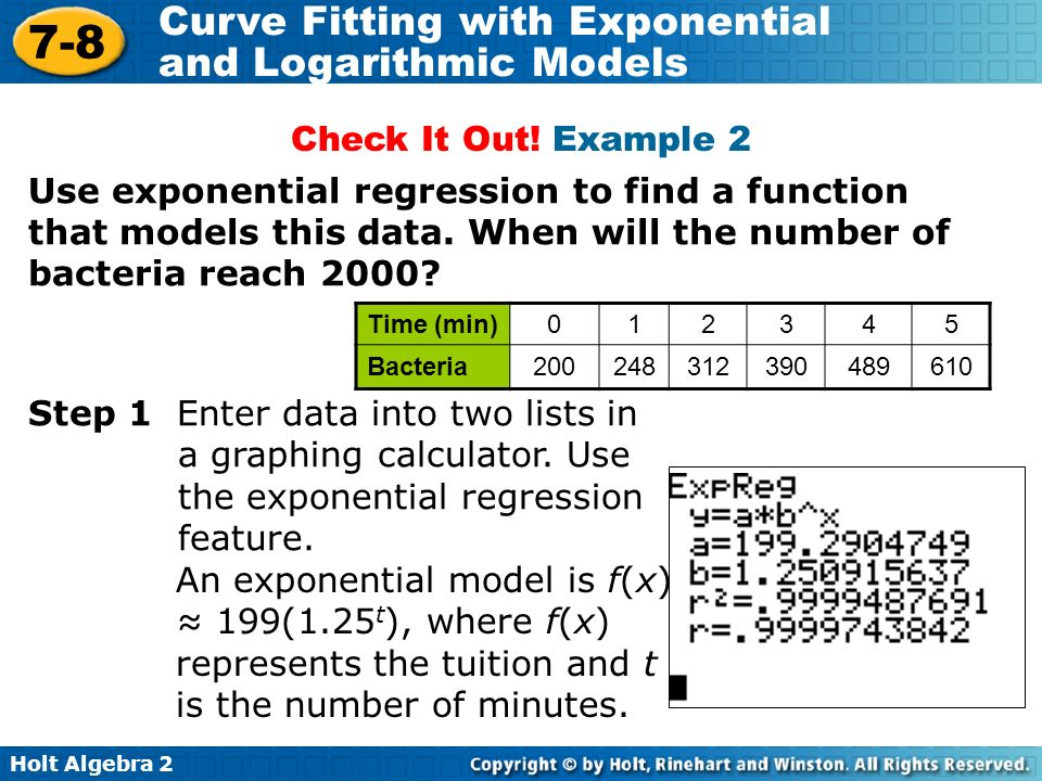 7 8 Curve Fitting With Exponential And Logarithmic Models Warm Up