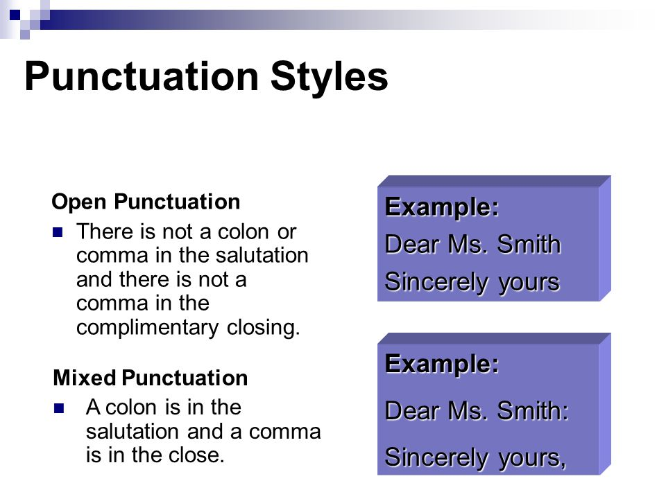 Apply correct letter formats ppt download punctuation styles example dear ms smith sincerely yours example ccuart Choice Image