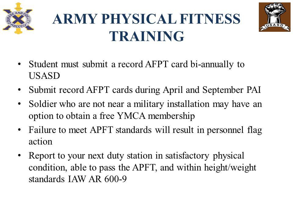 army physical fitness training standards At first glance, the recent introduction of new physical training  frank palkoska,  chief of the us army's physical fitness training school  so we wound up  training to a civilian standard of fitness rather than a military one.