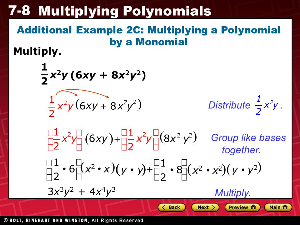 Preview Warm Up California Standards Lesson Presentation ppt – Multiplying a Polynomial by a Monomial Worksheet