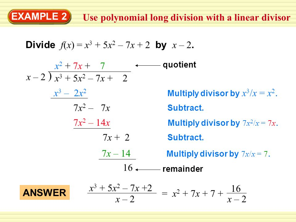 how to find the remainder in polynomial long division