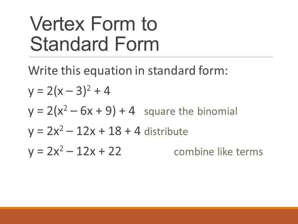 Vertex Form To Standard Form Hcsclub