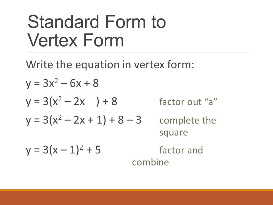 How to write axis and vertex in vertex form