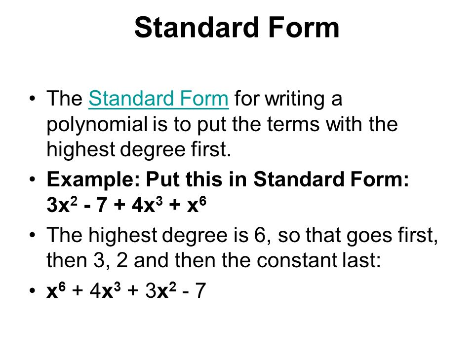writing polynomials in standard form
