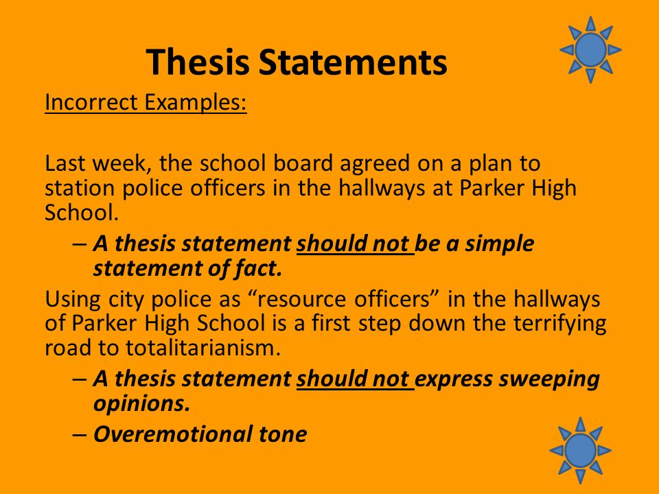 thesis focus statement Thesis statement the thesis statement is that sentence or two in your text that contains the focus of your essay and tells your reader what the essay is going to be about although it is certainly possible to write a good essay without a thesis statement (many.