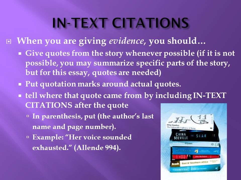 IN-TEXT CITATIONS When you are giving evidence, you should…