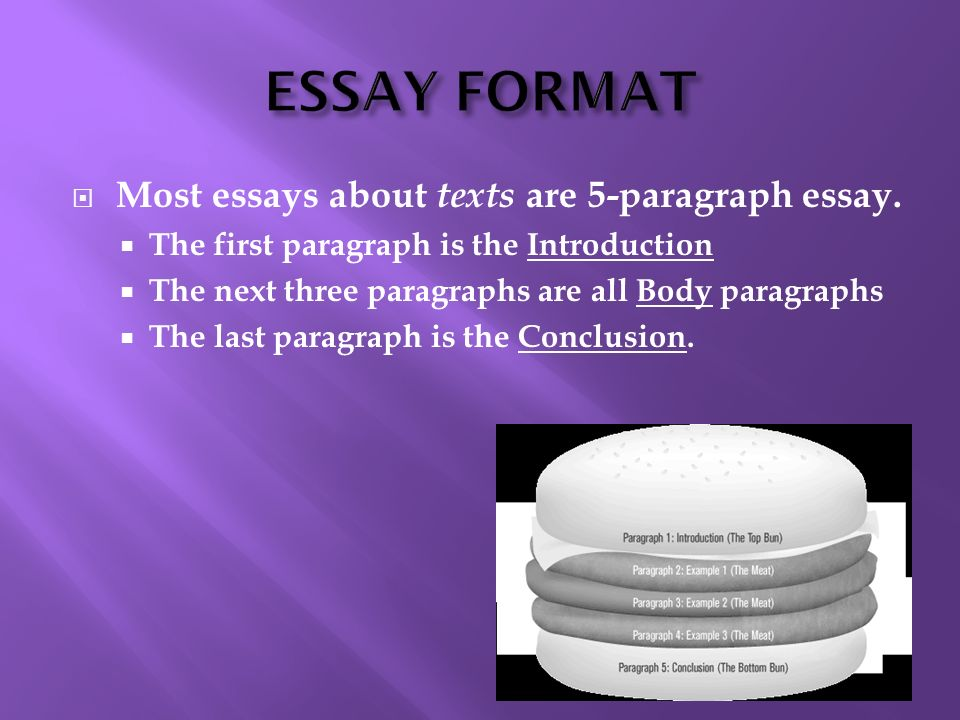 ESSAY FORMAT Most essays about texts are 5-paragraph essay.