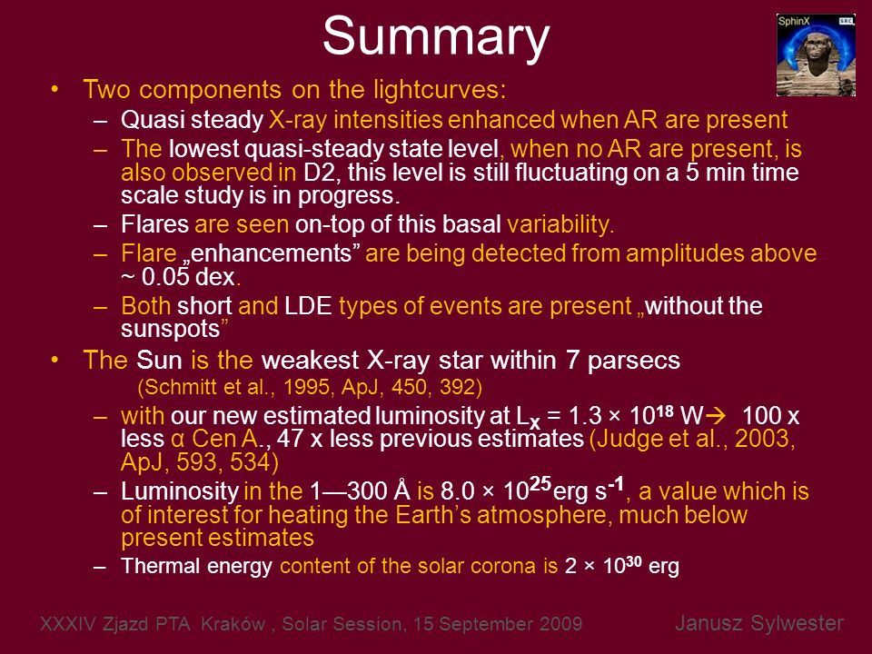 Summary Two components on the lightcurves: