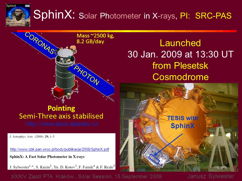 SphinX: Solar Photometer in X-rays, PI: SRC-PAS