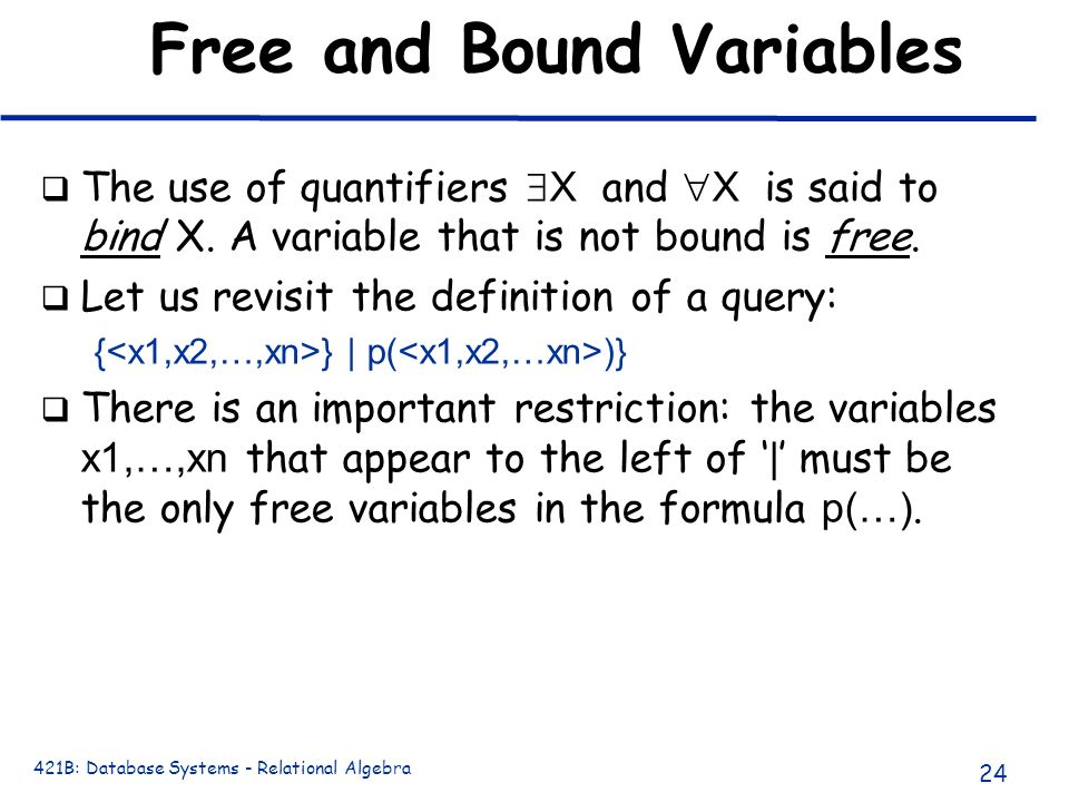 Free and Bound Variables