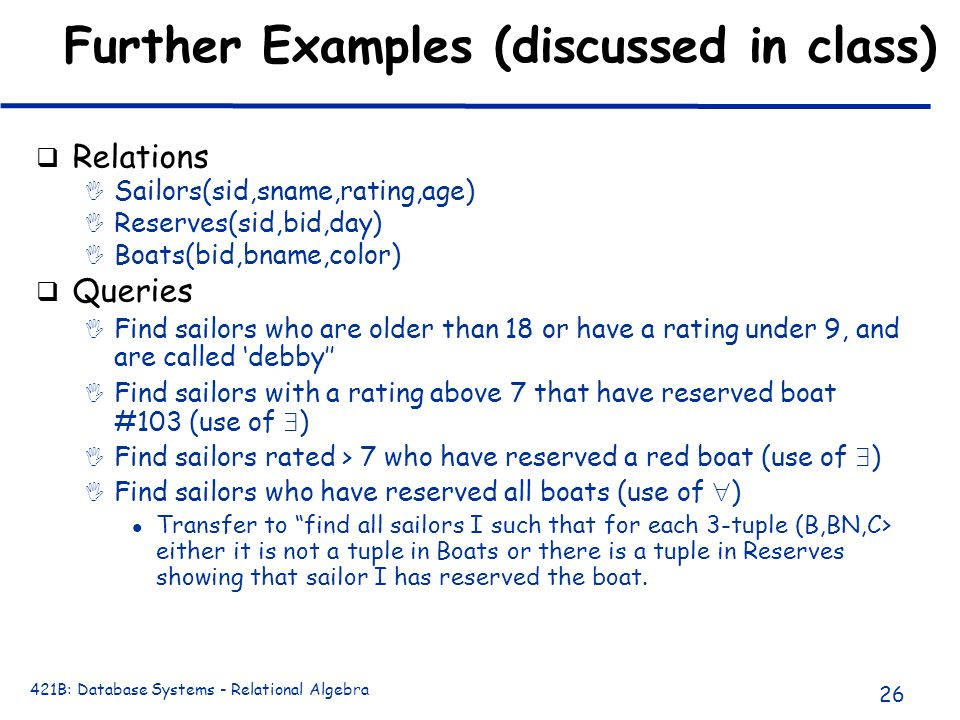 Further Examples (discussed in class)