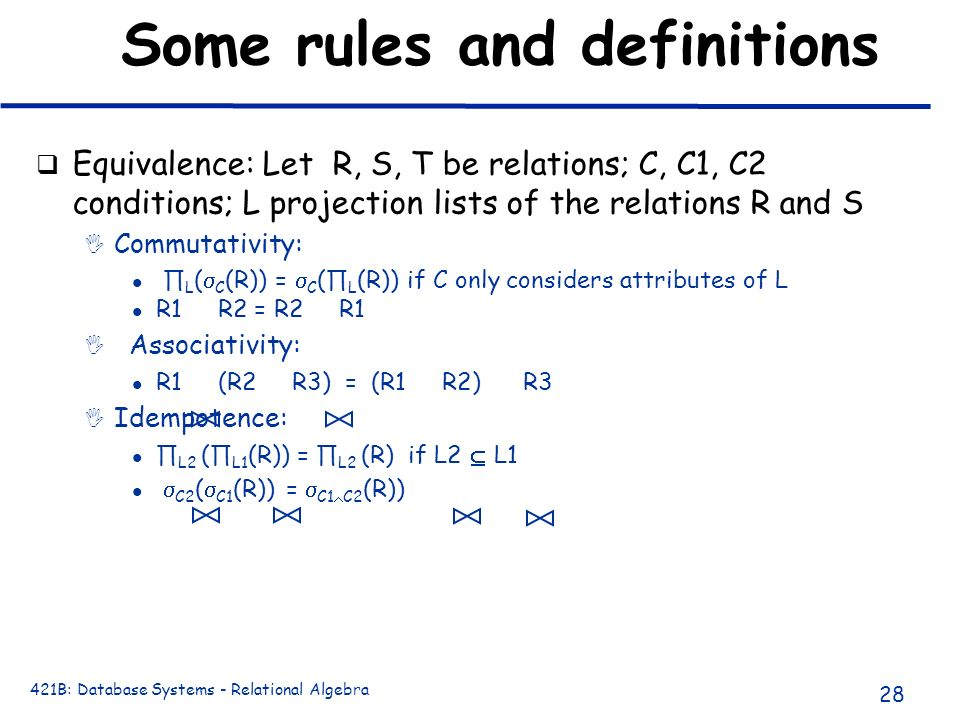 Some rules and definitions