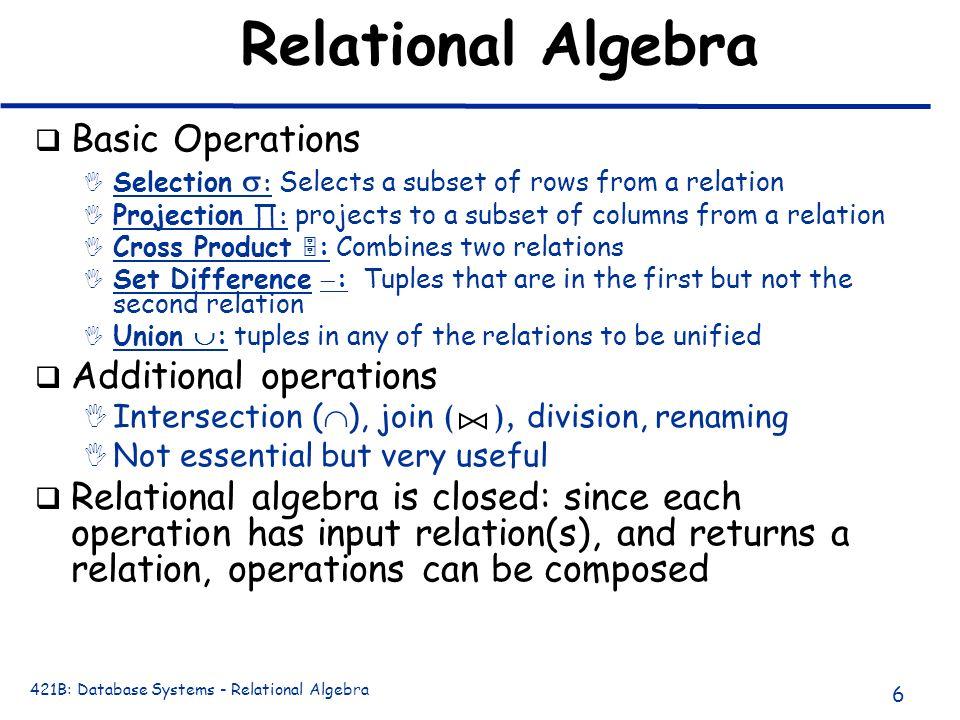 Relational Algebra Basic Operations Additional operations