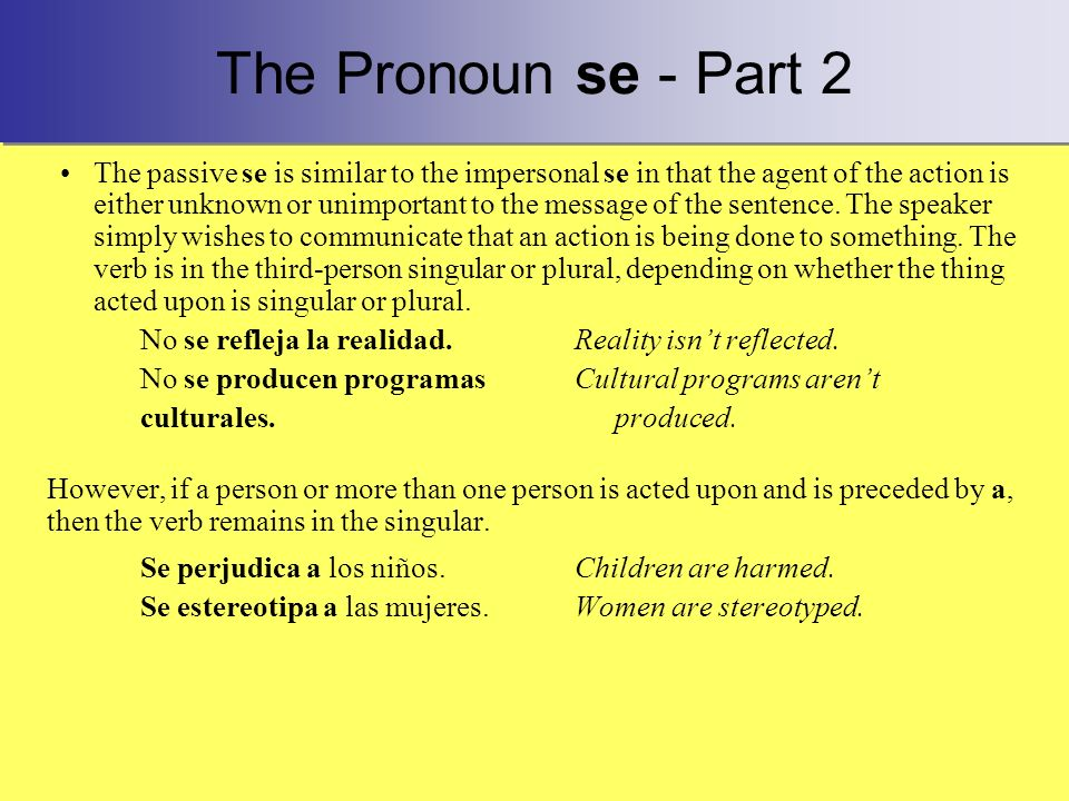 The Pronoun se - Part 2
