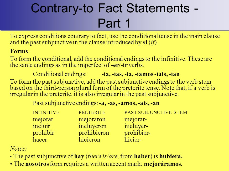 Contrary-to Fact Statements - Part 1