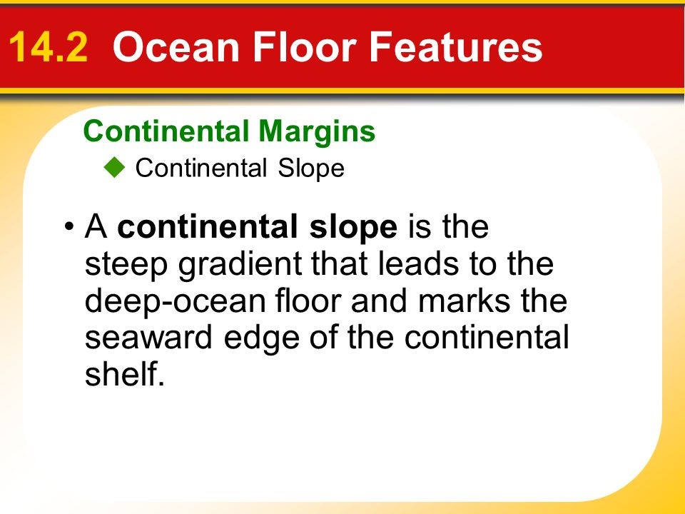Continental Margins 14.2 Ocean Floor Features.  Continental Slope.