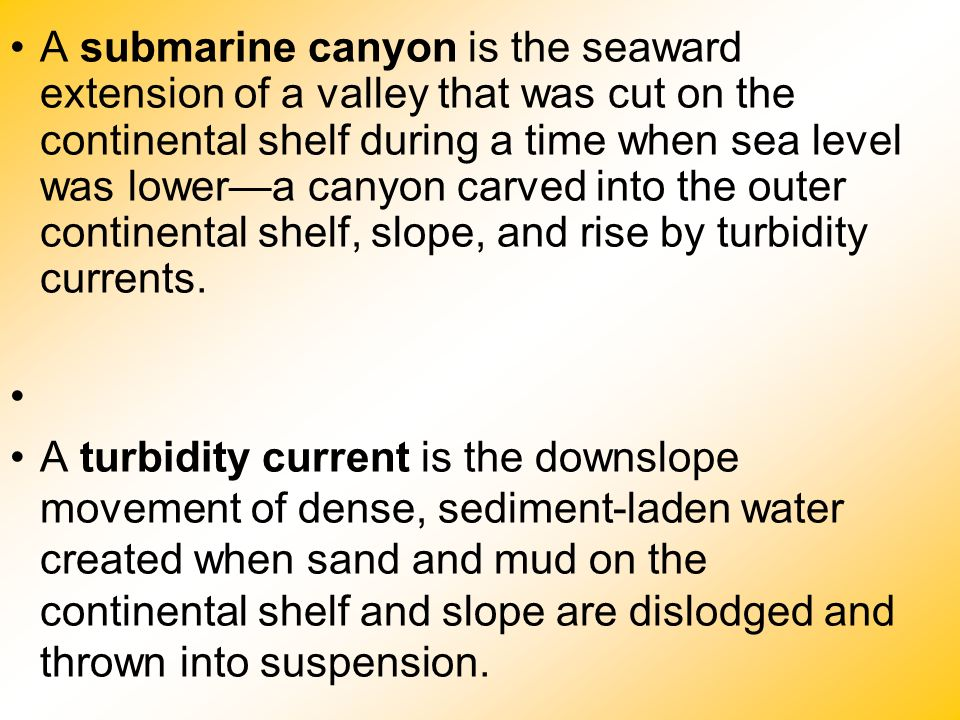 A submarine canyon is the seaward extension of a valley that was cut on the continental shelf during a time when sea level was lower—a canyon carved into the outer continental shelf, slope, and rise by turbidity currents.