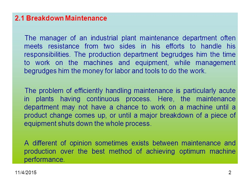 What Is Breakdown Maintenance?