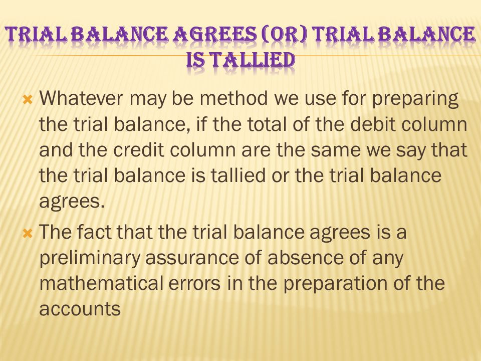Trial Balance Agrees (Or) Trial Balance is Tallied