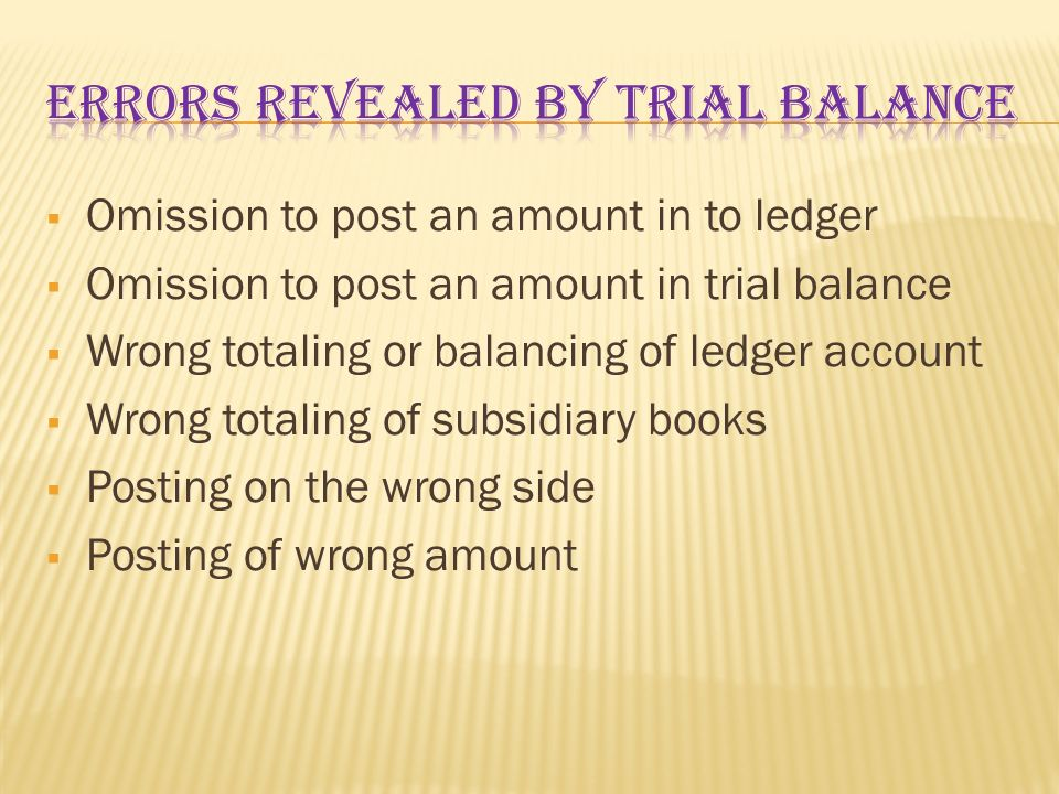 ERRORS REVEALED BY TRIAL BALANCE