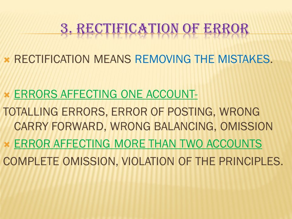 3. RECTIFICATION OF ERROR
