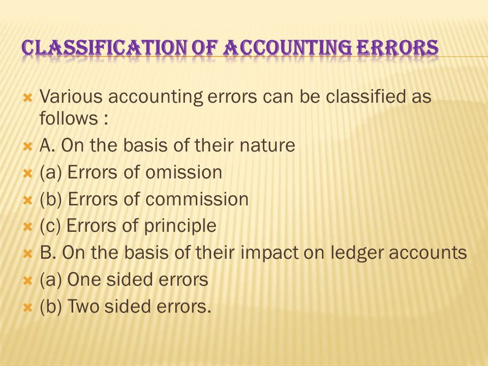 CLASSIFICATION OF ACCOUNTING ERRORS