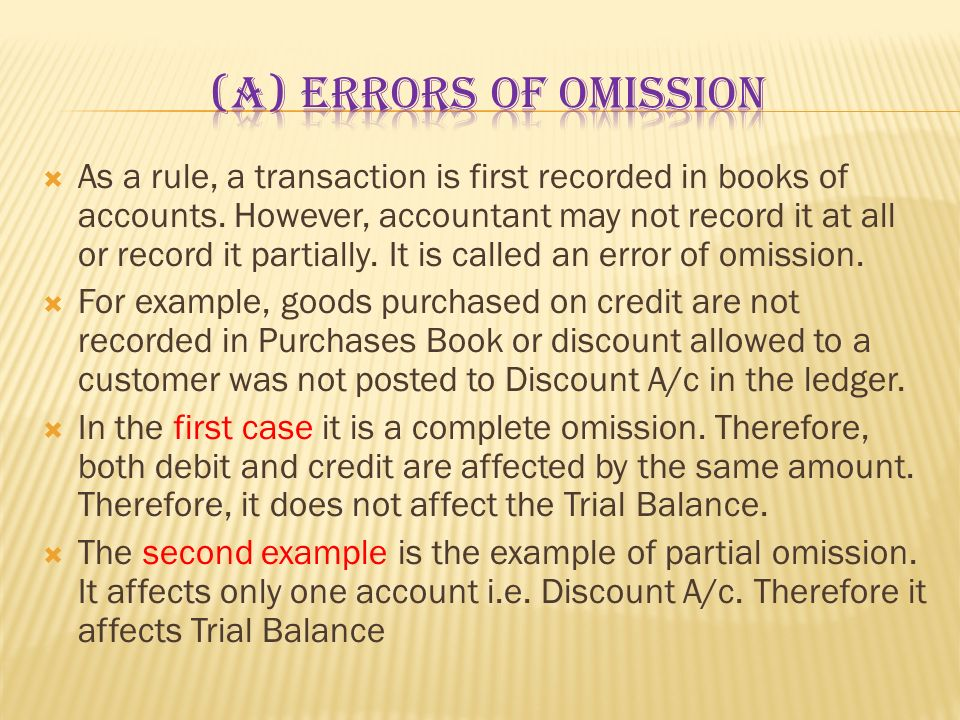 (a) Errors of omission