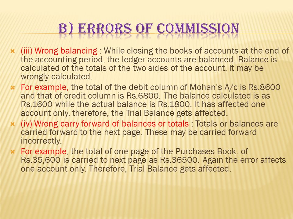 b) Errors of commission